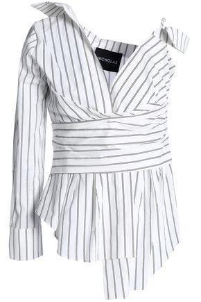 Nicholas Woman Asymmetric Striped Cotton-poplin Top White
