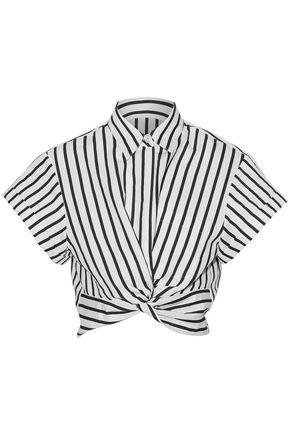 T By Alexander Wang Cropped Twist-front Striped Cotton-blend Poplin Shirt In White