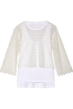 ChloÉ Layered Cotton Guipure Lace And Cotton-blend Jersey Top In White