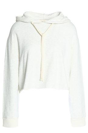 Monrow Woman Cropped Cotton-blend Jersey Hooded Sweater Ivory