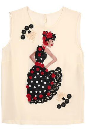 Dolce & Gabbana Woman AppliquÉd Silk Crepe De Chine Top Ecru