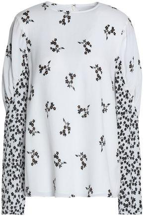 Tibi Woman Gathered Floral-print Crepe Top White