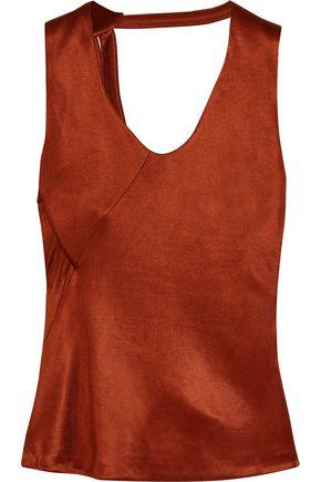 Atlein Woman Open-back Draped Metallic Satin Top Brick
