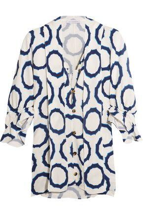 Jw Anderson Woman Pussy-bow Printed Cady Blouse Indigo