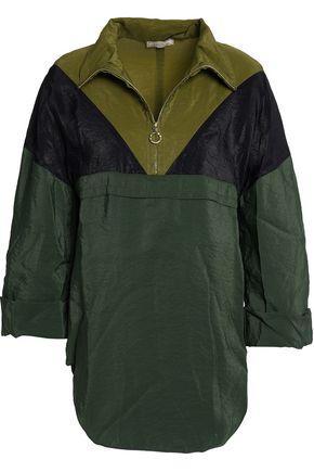 Nina Ricci Woman Color-block Crinkled Taffeta Top Army Green