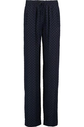 ChloÉ Silk-blend CloquÉ Straight-leg Pants In Navy
