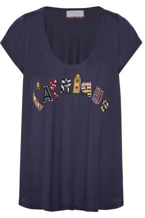 Camilla Woman L'afrique Bead-embellished Jersey T-shirt Midnight Blue