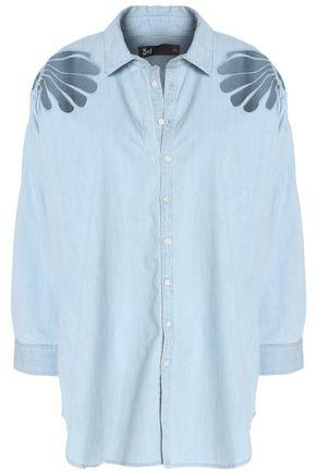 3x1 Woman Printed Cotton-chambray Shirt Light Denim