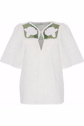 Vilshenko Woman Embroidered Linen Top Ivory