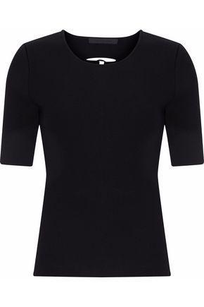 Alexander Wang Woman Lace-up Back Ribbed-knit Top Black