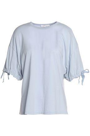 Clu Woman Mesh-paneled Cotton-blend Jersey Shirt Sky Blue