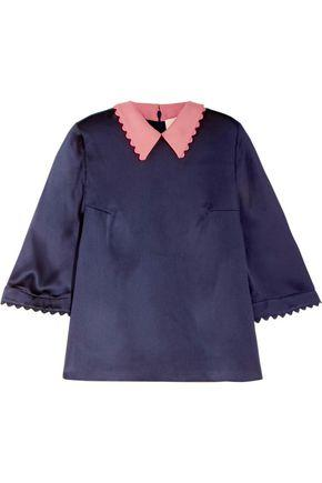 Roksanda Woman Wool And Hammered Silk Top Midnight Blue