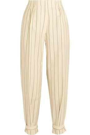 Hillier Bartley Buckled Pinstriped Wool-twill Pants In Off-white