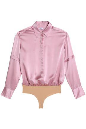 Alix Woman Mercer Silk-satin And Stretch-jersey Bodysuit Pink
