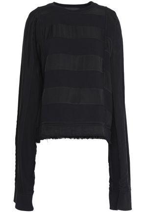 Haider Ackermann Woman Paneled Twill And Cotton-terry Sweatshirt Black