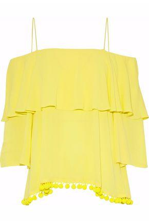 Alice And Olivia Woman Cold-shoulder Ruffled Gauze Top Yellow