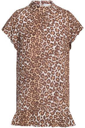 Zimmermann Woman Ruffled Leopard-print Jersey Top Light Brown