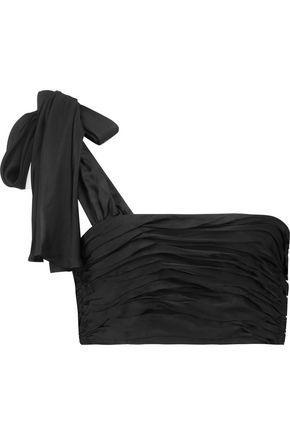Cinq À Sept Amora Cropped Bow-embellished Ruched Taffeta Top In Black