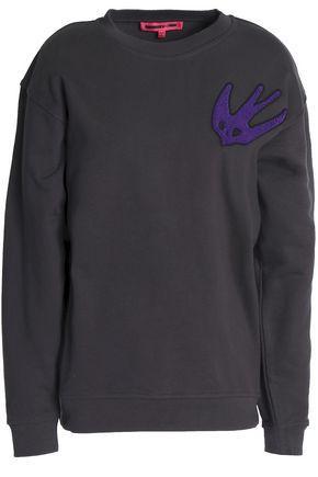 Mcq By Alexander Mcqueen Woman Flocked Cotton-blend Jersey Sweatshirt Dark Gray