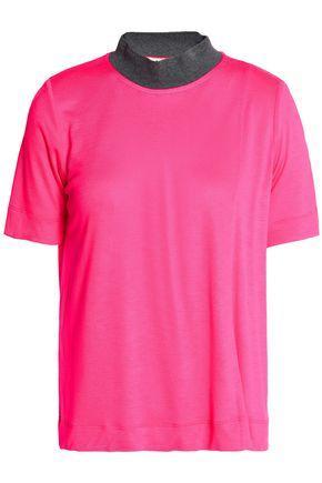 Marni Woman Two-tone Stretch-jersey T-shirt Bright Pink