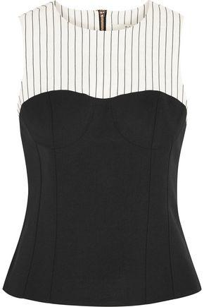 Tibi Woman Cecil Striped Linen-blend And Stretch-crepe Top Black