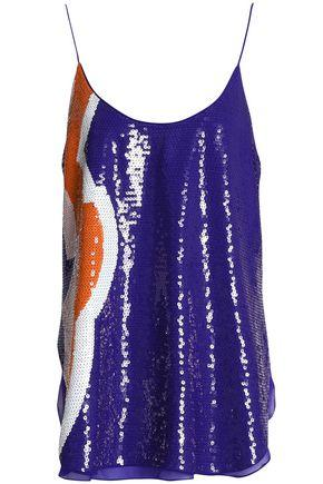 Emilio Pucci Woman Sequined Silk-chiffon Camisole Blue