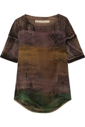 Raquel Allegra Woman Distressed Tie-dyed Stretch Cotton-blend T-shirt Brown