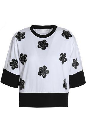 Victoria Victoria Beckham Woman Coated Floral-appliquÉd Cotton-jersey T-shirt White