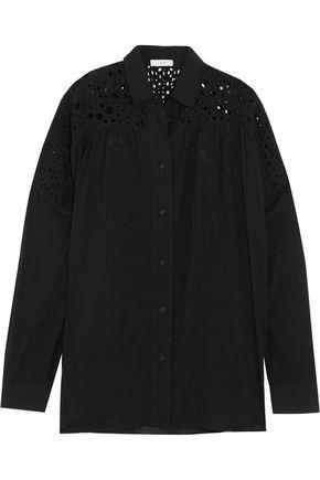 Iro Woman Broderie Anglaise And Voile Shirt Black