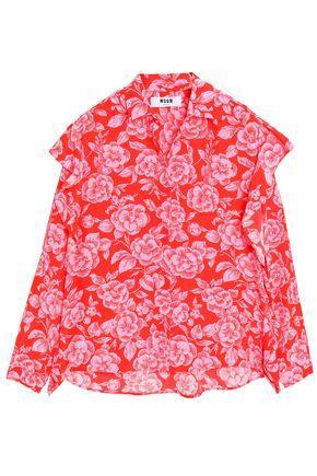 Msgm Woman Ruffled Floral-print Silk-chiffon Blouse Red