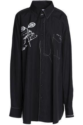 Maison Margiela Woman Embroidered Cotton-poplin Dress Black