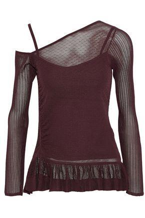 Jason Wu Woman One-shoulder Paneled Stretch-knit Top Burgundy