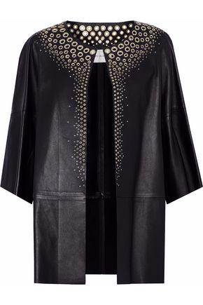Yves Salomon Woman Eyelet-embellished Leather Jacket Black