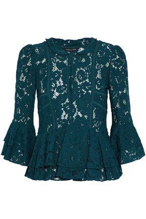 Marissa Webb Woman Ruffled Corded Lace Peplum Blouse Emerald