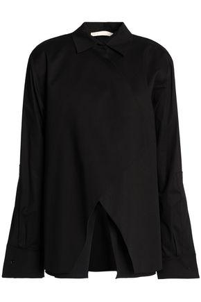 Antonio Berardi Woman Layered Stretch Cotton-blend Poplin Shirt Black