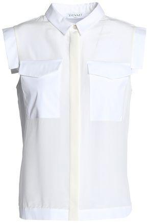 Vionnet Woman Paneled Crepe De Chine And Cotton-poplin Shirt White