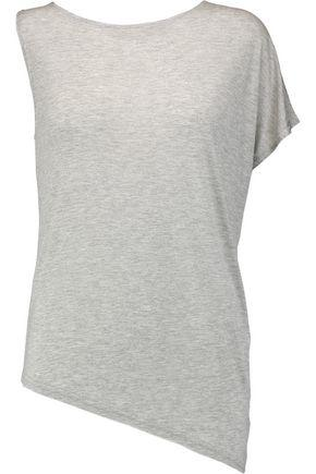 Halston Heritage Woman Asymmetric Modal-jersey Top Light Gray