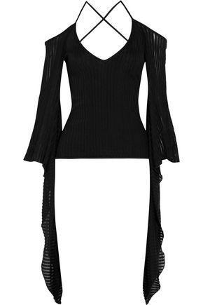 Balmain Woman Cold-shoulder Ribbed Stretch-knit Top Black
