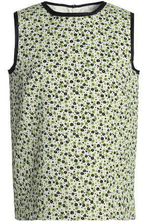 Maison Margiela Woman Floral-jacquard Top Light Green