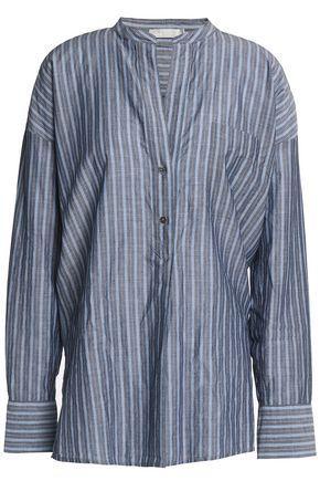 Vince Woman Striped Cotton-chambray Tunic Gray
