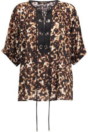 Roberto Cavalli Woman Lace-up Leopard-print Silk-crepe Top Animal Print