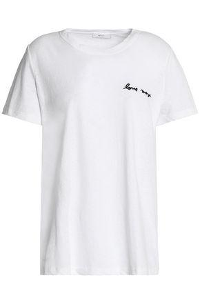 A.l.c Woman Embroidered Slub Cotton-jersey T-shirt White