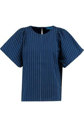 M.i.h Jeans Woman Mina Gathered Striped Cotton-canvas Top Storm Blue In Navy
