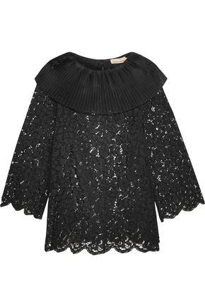 Merchant Archive Woman Silk Organza-trimmed Corded Cotton-blend Lace Top Black