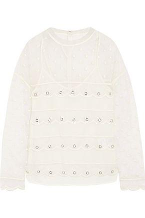 Red Valentino Woman Scalloped Eyelet-embellished Mesh Top Ivory