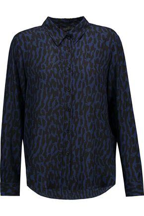 Belstaff Woman Whitley Printed Silk-georgette Shirt Storm Blue