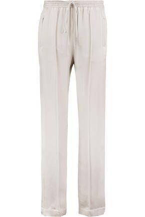 ChloÉ Silk-satin Straight-leg Pants In Light Gray