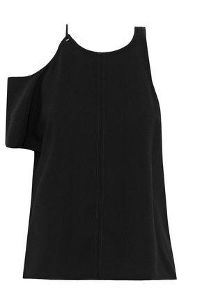 T By Alexander Wang One-shoulder Cutout Crepe Top In Black