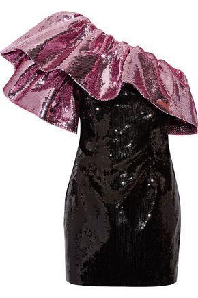 Saint Laurent One-shoulder Ruffled Sequined Silk Mini Dress In Pink
