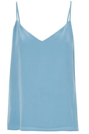 L Agence Woman Jane Washed-silk Top Sky Blue